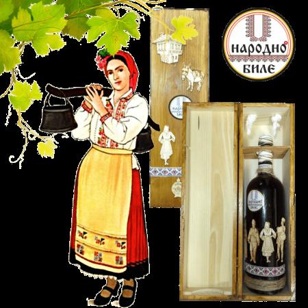 Комплект дървена кутия и бутилка с вино-подарък 700 мл